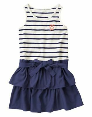 NWT Gymboree Cute on the Coast Striped Ruffle Dress SZ 5 6 7 Girls