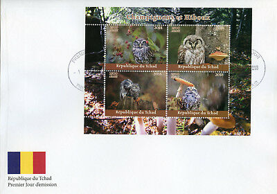 Chad 2018 FDC Mushrooms & Owls 4v M/S Cover Owl Fungi Nature Birds Stamps