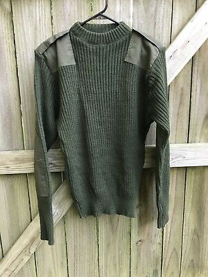 US Marine Corps USMC Green Knit Sweater Service Wool Wooly Pulley Sz 4O