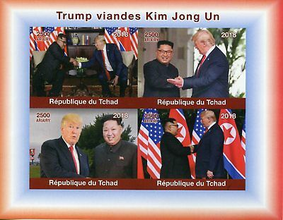 Chad 2018 MNH Donald Trump Visits Kim Jong Un 4v IMPF M/S US Presidents Stamps