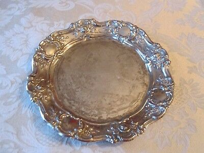 Vintage Towle Silver Plated Plate Embossed Roses & Scroll Border 71/2""