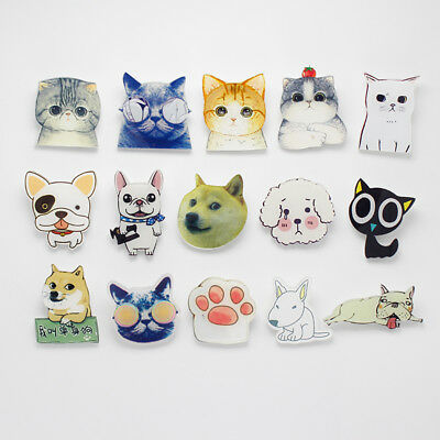 Cat Dog Acrylic Badges For Clothing Backpack Plastic Tiny Cute Animal Pin Brooch