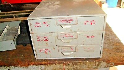 """Old LYON Industrial 3 Drawer Metal Cabinet- 5 Available *11 7/8""""x 7 3/4"""" x11 1/2"""