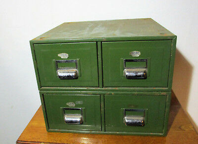 Vintage Mid Century Two Industrial Green Metal Digby Filing Cabinets VERY RARE