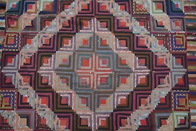 Beautiful Antique Square Pattern Patchwork Quilt Original Vtg Atq Multi-Color