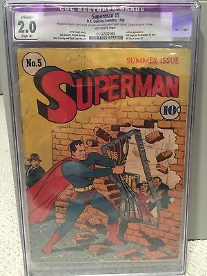 Superman #5 CGC 2.0 DC Comics 1940 Luthor Appearance golden age