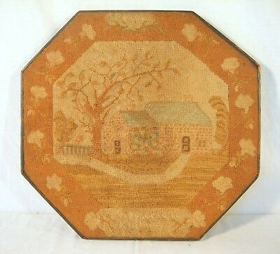 Antique American Folk Art Needlepoint Embroidery Early 19th C.With Octagon Frame