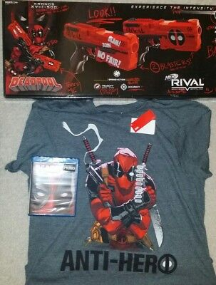 Nerf Rival Deadpool Kronos XVIII-500 Dual Pack Lot T shirt and DVD set