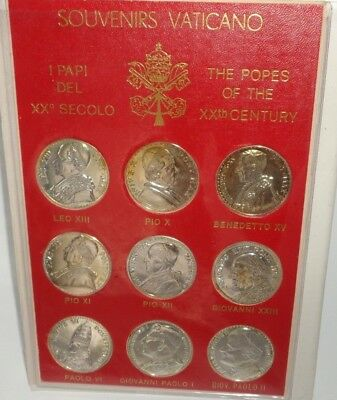 9 Vatican Medals Coins Souvenirs Vaticano The Popes of the 20th Century w/ Folio