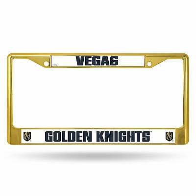 Las Vegas Golden Knights NHL Gold Color Painted Chrome Metal License Plate Frame