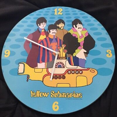 "Yellow Submarine Beatles 13"" Battery Wall Art Clock 2013 For Artwork As Is"