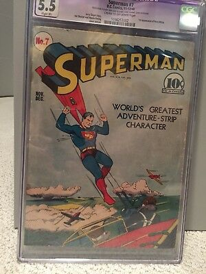 Superman #7 CGC 5.5 DC 1940 1st appearance Perry White Golden Age