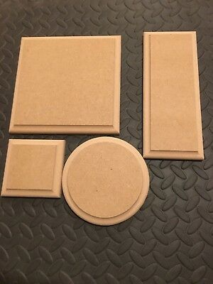 WOODEN PLAQUES Circles / Square / Rectangle 18mm MDF blank signs plinth stands