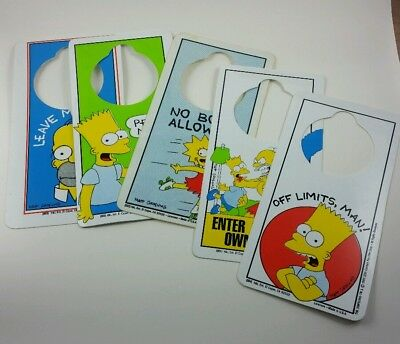 Lot of 5 Vtg. 1990 The Simpsons Door Hanger Hang Tags with RARE Misprint Defects