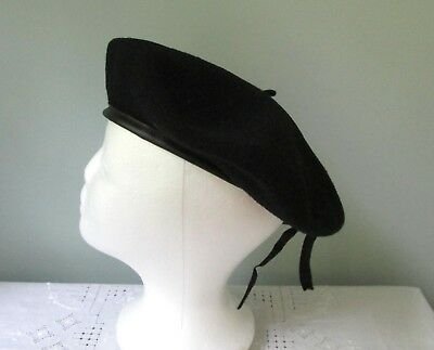 38b11e5d19a3f Black Wool Basque Beret Veritable Commando Made in France Vintage Military