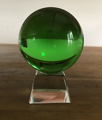 Crystal Ball 60mm Green with Glass Stand Small Decorative Boxed New Witch Magic