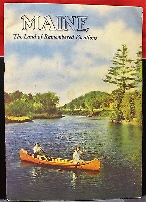 """VINTAGE Maine Tourist Guide, ca. 50s, """"Land of Remembered Vacations"""", GOOD cond."""