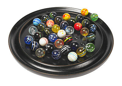 "Solitaire Di Venezia Wooden Game 25mm (0.98"") Hand Blown Glass Marbles"