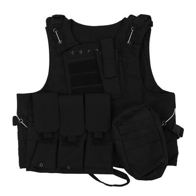 Gilet Veste en Nylon Noir MOLLE Tactique Combat Airsoft Paintball P3V1