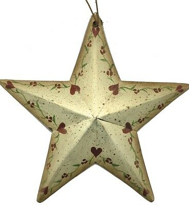 Rustic Country Metal Barn STAR heart floral vines Sign Vintage tin stars Decor
