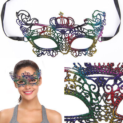 Black Lace Victorian Venetian Masquerade Floral Tiara Eye Hollow Mask Costume OS