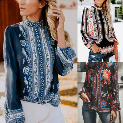 1pc Womens Retro Print Tops Long Sleeve Stand Collar Hollow Chiffon Shirt Blouse