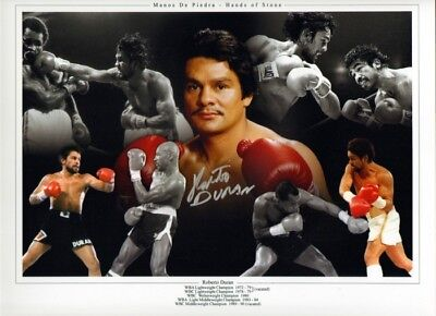 Signed Roberto Duran Autographed Boxing Photo Montage Hands Of Stone + Proof