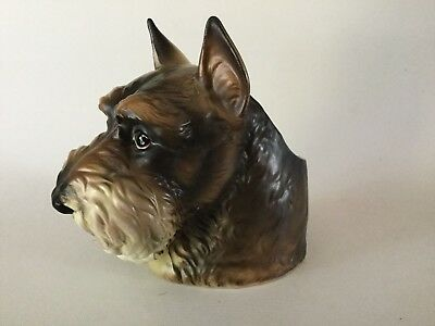 INARCO Pottery SCHNAUZER Dog Head Vase Planter E2935 Vintage 1950s Japan
