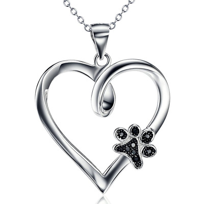"925 Sterling Silver Love Heart Puppy Paw Pendant Necklace, Rolo Chain 18"" HOT"