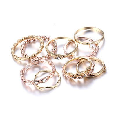 Bohemian Vintage Crystal Joint Knuckle Nail Ring 10 pcs Finger Rings Punk Ring