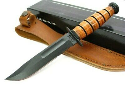 Ka-bar 1261 Leather Handle Short Serrated Combo Edge USMC Utility Knife + Sheath