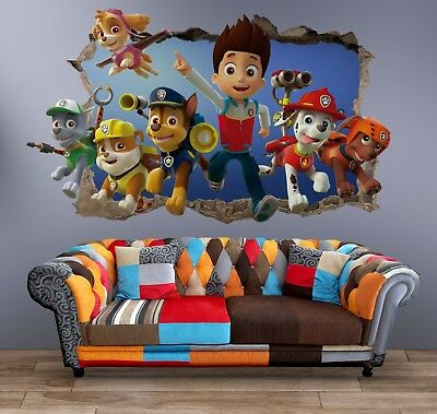 Paw Patrol Characters 3 Wall Decal 3D Art Stickers Vinyl Room Home Bedroom