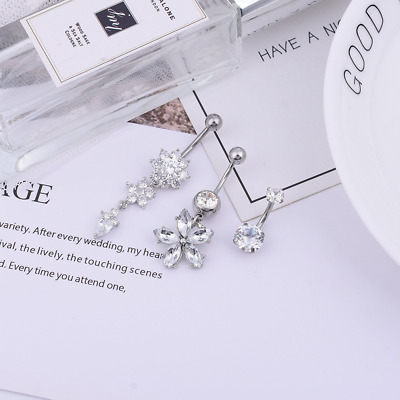 3PCS Stainless Steel CZ Belly Button Ring Navel Ring Body Jewelry Belly Piercing