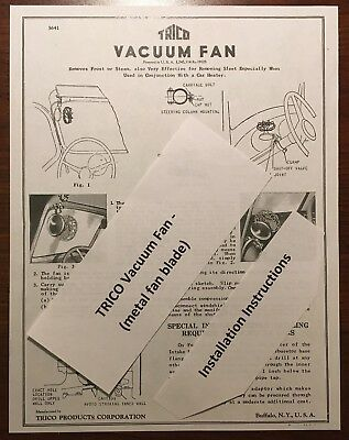 Vintage Trico Metal Blade Vacuum Fan Defroster Mounting Hook Up Instructions