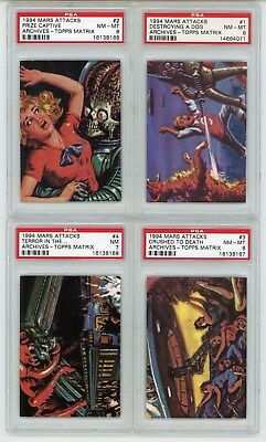 1994 Topps Mars Attacks Archives Matrix 4 Card Set PSA Graded
