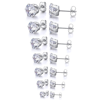 Cubic Zirconia Stud Earrings Gift Set Stainless Steel Jewelry 7 Pairs NEW HOT