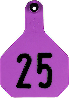 Y-Tex Large 4 Star Cattle Ear Tags Purple Numbered 1-25