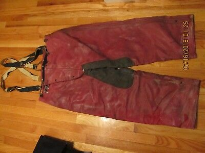 Vtg Janesville Apparel Co (Wis) Leather ? Fireman Turnout Pants W/police Braces