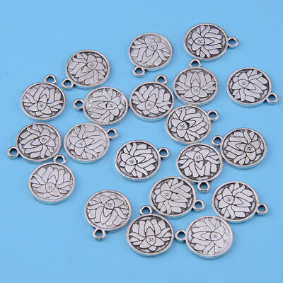 20x Tibetan Silver Large Lotus Flower Round Charms Pendants for Necklace Jewelry