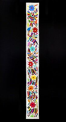 Gorgeous Otomi Embroidered Table Runner From Tenango De Doria. Mexican Folk Art