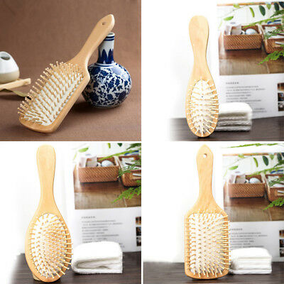 Bamboo Wooden Hair Brush Anti-Static Oval Pneumatic Head Meridian Massage Combs
