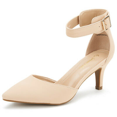 DREAM PAIRS LOWPOINTED  Women's Evening Dress  Ankle Strap  Wedding Pumps Shoes
