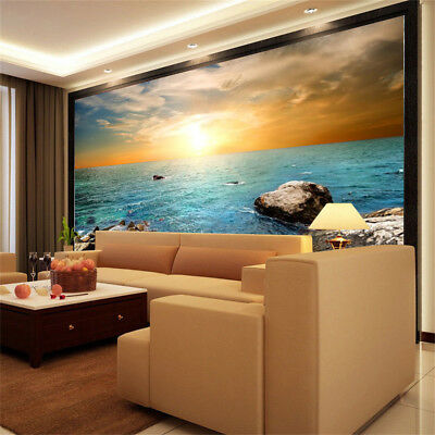 3d Morning Sunrise Seaside Tv Background Wallpaper Bedroom
