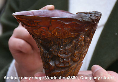 """5"""" Antique Chinese Ox Horn Carved Dynasty Old Man Tongzi Drinking Cup Wineglass"""