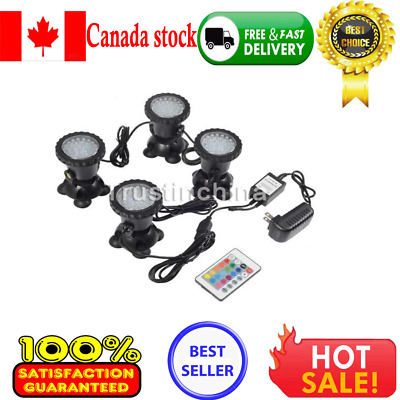 144 LEDs Underwater Garden Fountain Fish Tank Pool Pond Spot Light 4pcs IN Canad
