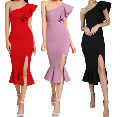 Women Off One Shoulder Ruffle Evening Party Cocktail Bodycon Mermaid Midi Dress