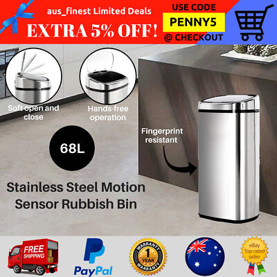68L STAINLESS STEEL Motion Sensor Rubbish Bins Kitchen Waste Automatic  Trash Can