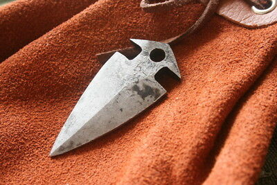 Hand Forged Fire Starting Steel Flint Striker Arrowhead Pendant