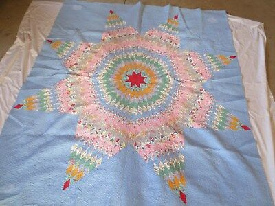 """Vintage 1940s Texas Star Quilt 86 x 76"""" Vintage Fabric 1940s Fabric"""
