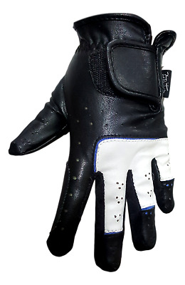 Black and White with Blue Lining Horse Riding Gloves -